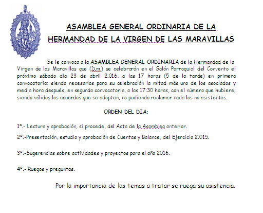 CONVOCATORIA ASAMBLEA HERMANDAD 16